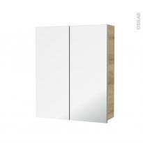 Armoire de toilette - Rangement haut - HOSTA Chêne Naturel - 2 portes miroir - Côtés décors - L60 x H70 x P17 cm