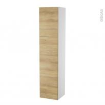 Colonne de salle de bains - 2 portes - HOSTA Chêne Naturel - Côtés blancs - Version A - L40 x H182 x P40 cm