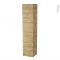 Colonne de salle de bains - 2 portes - HOSTA Chêne Naturel - Côtés décors - Version A - L40 x H182 x P40 cm
