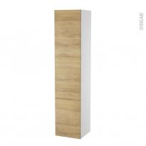 Colonne de salle de bains - 2 portes - HOSTA Chêne Naturel - Côtés blancs - Version B - L40 x H182 x P40 cm