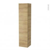 Colonne de salle de bains - 2 portes - HOSTA Chêne Naturel - Côtés décors - Version B - L40 x H182 x P40 cm