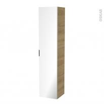 Colonne de salle de bains - 1 porte miroir - HOSTA Chêne Naturel - Côtés décors - L40 x H182 x P40 cm