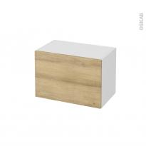 Meuble de salle de bains - Rangement bas - HOSTA Chêne Naturel - 1 tiroir - L60 x H41 x P37 cm