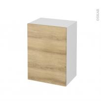 Meuble de salle de bains - Rangement bas - HOSTA Chêne Naturel - 1 porte - L50 x H70 x P37 cm