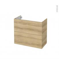 Meuble de salle de bains - Sous vasque - HOSTA Chêne Naturel - 2 tiroirs - Côtés décors - L80 x H70 x P40 cm