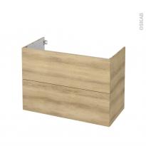 Meuble de salle de bains - Sous vasque - HOSTA Chêne Naturel - 2 tiroirs - Côtés décors - L100 x H70 x P50 cm