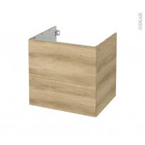 Meuble de salle de bains - Sous vasque - HOSTA Chêne Naturel - 2 tiroirs - Côtés décors - L60 x H57 x P50 cm