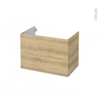 Meuble de salle de bains - Sous vasque - HOSTA Chêne Naturel - 2 tiroirs - Côtés décors - L80 x H57 x P50 cm