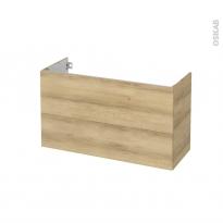 Meuble de salle de bains - Sous vasque - HOSTA Chêne Naturel - 2 tiroirs - Côtés décors - L100 x H57 x P40 cm