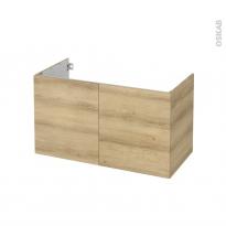 Meuble de salle de bains - Sous vasque - HOSTA Chêne Naturel - 2 portes - Côtés décors - L100 x H57 x P50 cm
