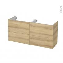 Meuble de salle de bains - Sous vasque double - HOSTA Chêne Naturel - 4 tiroirs - Côtés décors - L120 x H57 x P40 cm
