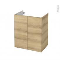 Meuble de salle de bains - Sous vasque - HOSTA Chêne Naturel - 2 portes - Côtés décors - L60 x H70 x P40 cm