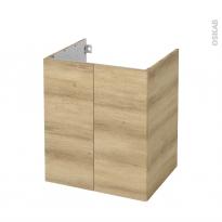 Meuble de salle de bains - Sous vasque - HOSTA Chêne Naturel - 2 portes - Côtés décors - L60 x H70 x P50 cm