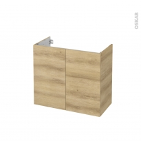 Meuble de salle de bains - Sous vasque - HOSTA Chêne Naturel - 2 portes - Côtés décors - L80 x H70 x P40 cm