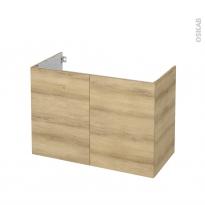 Meuble de salle de bains - Sous vasque - HOSTA Chêne Naturel - 2 portes - Côtés décors - L100 x H70 x P50 cm