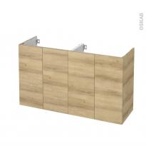 Meuble de salle de bains - Sous vasque double - HOSTA Chêne Naturel - 4 portes - Côtés décors - L120 x H70 x P40 cm