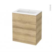 Meuble de salle de bains - Plan vasque REZO - HOSTA Chêne Naturel - 2 tiroirs - Côtés décors - L60,5 x H71,5 x P40,5 cm