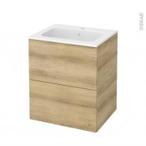 Meuble de salle de bains - Plan vasque REZO - HOSTA Chêne Naturel - 2 tiroirs - Côtés décors - L60,5 x H71,5 x P50,5 cm