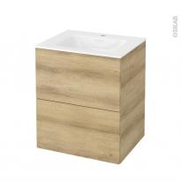 Meuble de salle de bains - Plan vasque VALA - HOSTA Chêne Naturel - 2 tiroirs - Côtés décors - L60,5 x H71,2 x P50,5 cm