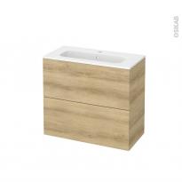 Meuble de salle de bains - Plan vasque REZO - HOSTA Chêne Naturel - 2 tiroirs - Côtés décors - L80,5 x H71,5 x P40,5 cm