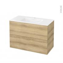 Meuble de salle de bains - Plan vasque VALA - HOSTA Chêne Naturel - 2 tiroirs - Côtés décors - L100,5 x H71,2 x P50,5 cm