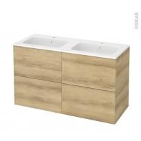 Meuble de salle de bains - Plan double vasque REZO - HOSTA Chêne Naturel - 4 tiroirs - Côtés décors - L120,5 x H71,5 x P50,5 cm