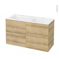 Meuble de salle de bains - Plan double vasque VALA - HOSTA Chêne Naturel - 4 tiroirs - Côtés décors - L120,5 x H71,2 x P50,5 cm