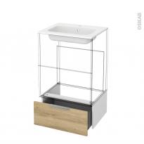Tiroir sous meuble - Socle n°51 - HOSTA Chêne Naturel - pour meuble salle de bains - L60 x H26 x P45 cm