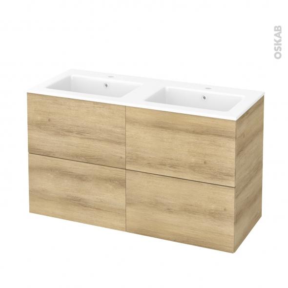 Meuble de salle de bains - Plan double vasque NAJA - HOSTA Chêne Naturel - 4 tiroirs - Côtés décors - L120,5 x H71,5 x P50,5 cm