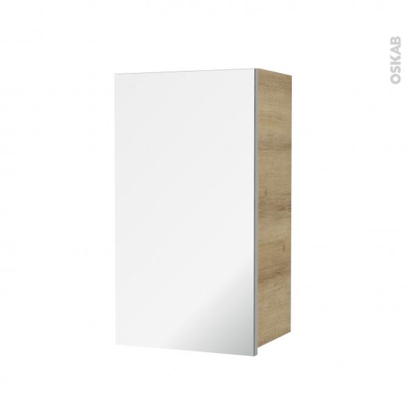 Armoire de salle de bains - Rangement haut - HOSTA Chêne Naturel - 1 porte miroir - Côtés décors - L40 x H70 x P27 cm
