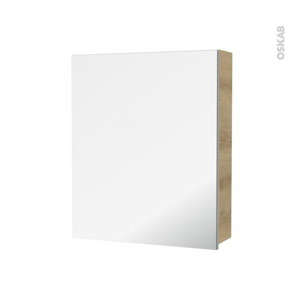 Armoire de toilette - Rangement haut - HOSTA Chêne Naturel - 1 porte miroir - Côtés décors - L60 x H70 x P17 cm