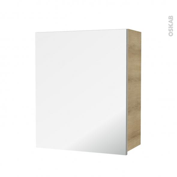 Armoire de salle de bains - Rangement haut - HOSTA Chêne Naturel - 1 porte miroir - Côtés décors - L60 x H70 x P27 cm