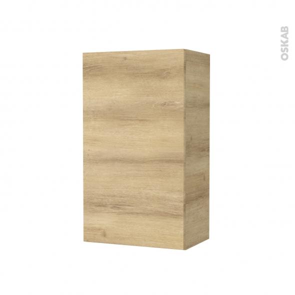 Armoire de salle de bains - Rangement haut - HOSTA Chêne Naturel - 1 porte - Côtés décors - L40 x H70 x P27 cm