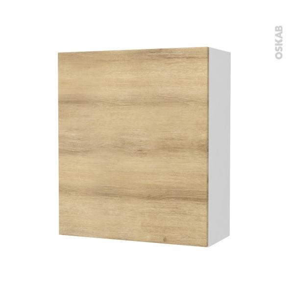 Armoire de salle de bains - Rangement haut - HOSTA Chêne Naturel - 1 porte - Côtés blancs - L60 x H70 x P27 cm