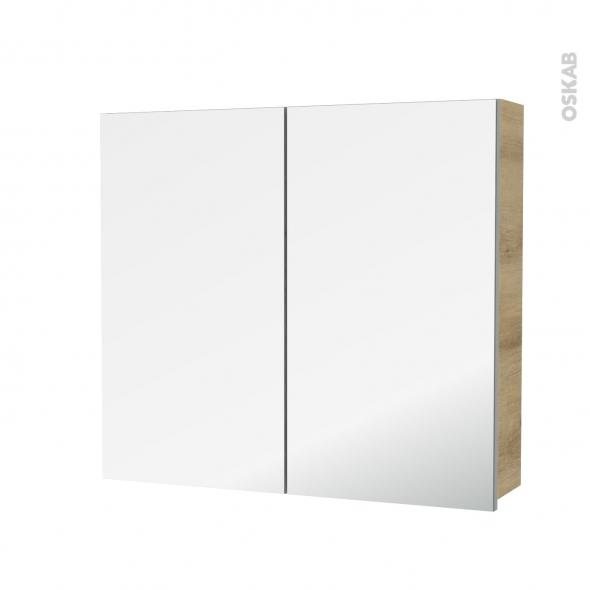 Armoire de toilette - Rangement haut - HOSTA Chêne Naturel - 2 portes miroir - Côtés décors - L80 x H70 x P17 cm