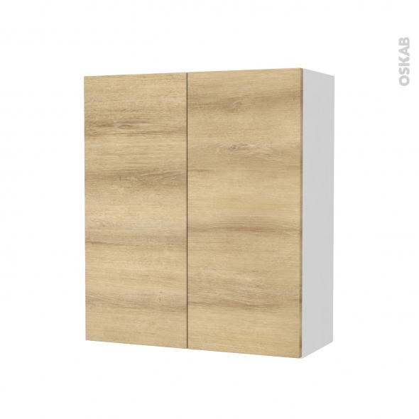 Armoire de salle de bains - Rangement haut - HOSTA Chêne Naturel - 2 portes - Côtés blancs - L60 x H70 x P27 cm