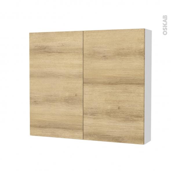 Armoire de toilette - Rangement haut - HOSTA Chêne Naturel - 2 portes - Côtés blancs - L80 x H70 x P17 cm