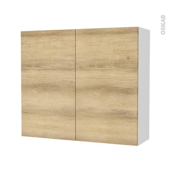 Armoire de salle de bains - Rangement haut - HOSTA Chêne Naturel - 2 portes - Côtés blancs - L80 x H70 x P27 cm