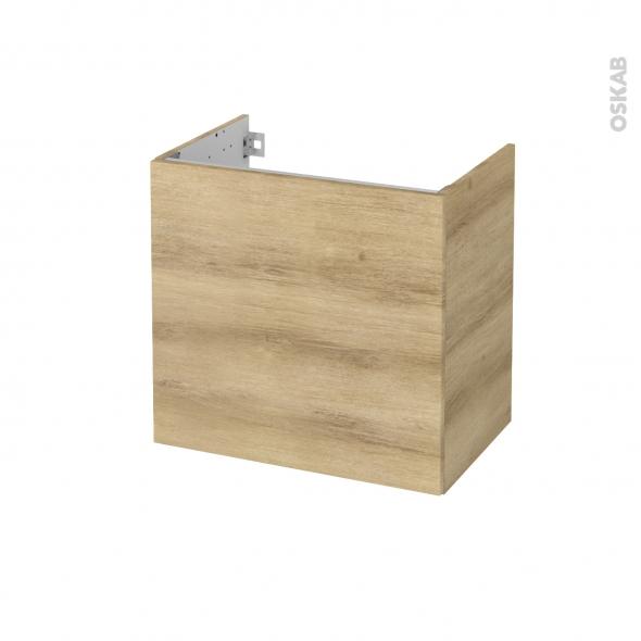 Meuble de salle de bains - Sous vasque - HOSTA Chêne Naturel - 1 porte - Côtés décors - L60 x H57 x P40 cm