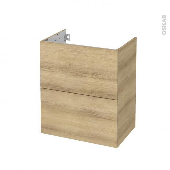Meuble de salle de bains - Sous vasque - HOSTA Chêne Naturel - 2 tiroirs - Côtés décors - L60 x H70 x P40 cm