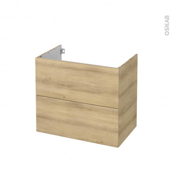 Meuble de salle de bains - Sous vasque - HOSTA Chêne Naturel - 2 tiroirs - Côtés décors - L80 x H70 x P50 cm