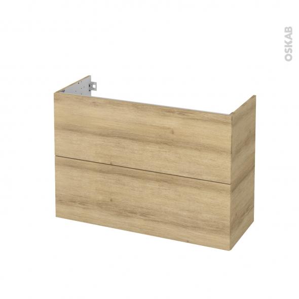 Meuble de salle de bains - Sous vasque - HOSTA Chêne Naturel - 2 tiroirs - Côtés décors - L100 x H70 x P40 cm