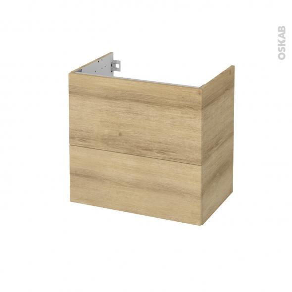 Meuble de salle de bains - Sous vasque - HOSTA Chêne Naturel - 2 tiroirs - Côtés décors - L60 x H57 x P40 cm
