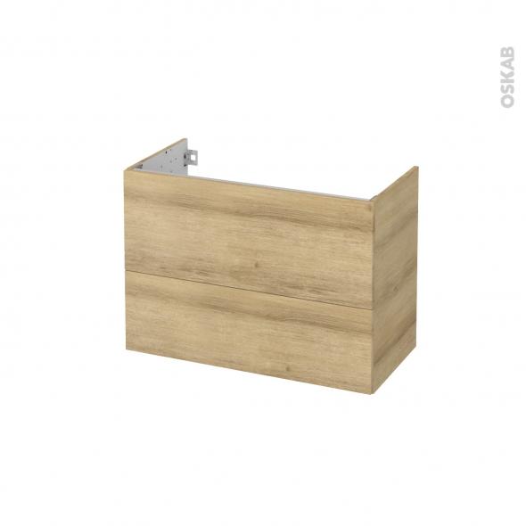 Meuble de salle de bains - Sous vasque - HOSTA Chêne Naturel - 2 tiroirs - Côtés décors - L80 x H57 x P40 cm