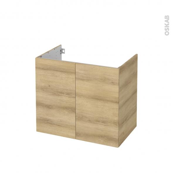 Meuble de salle de bains - Sous vasque - HOSTA Chêne Naturel - 2 portes - Côtés décors - L80 x H70 x P50 cm