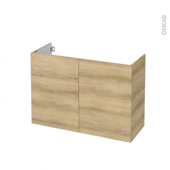 Meuble de salle de bains - Sous vasque - HOSTA Chêne Naturel - 2 portes - Côtés décors - L100 x H70 x P40 cm