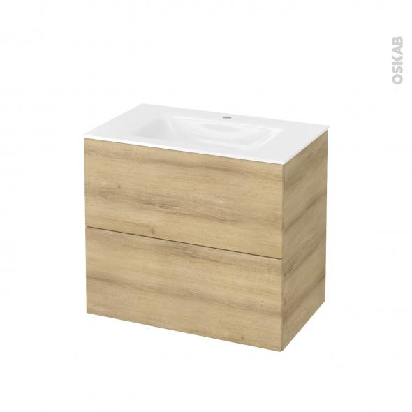 Meuble de salle de bains - Plan vasque VALA - HOSTA Chêne Naturel - 2 tiroirs - Côtés décors - L80,5 x H71,2 x P50,5 cm