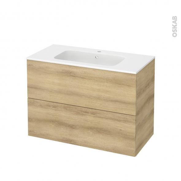 Meuble de salle de bains - Plan vasque REZO - HOSTA Chêne Naturel - 2 tiroirs - Côtés décors - L100,5 x H71,5 x P50,5 cm