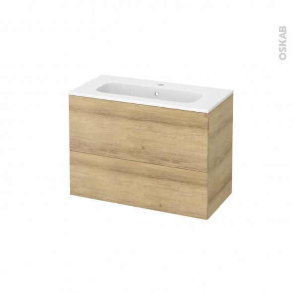 Meuble de salle de bains - Plan vasque REZO - HOSTA Chêne Naturel - 2 tiroirs - Côtés décors - L80,5 x H58,5 x P40,5 cm