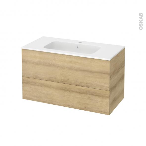 Meuble de salle de bains - Plan vasque REZO - HOSTA Chêne Naturel - 2 tiroirs - Côtés décors - L100,5 x H58,5 x P50,5 cm